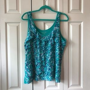 Apt 9 Teal Dotted Tank Top w/Ruffle Front